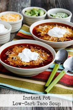 Use the Instant Pot or another pressure cooker to make this tasty Instant Pot Low-Carb Taco Soup, or make Low-Carb Taco Soup on the stove if you prefer. And this delicious soup is also Keto, low-glycemic, gluten-free, and South Beach Diet friendly. Use theRecipes-by-Diet-Type Indexto find more recipes like this one. Click here to PIN…