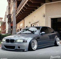 BMW E46 M3 grey deep dish slammed