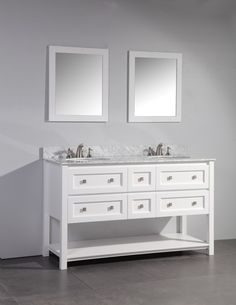 60' WHITE SOLID WOOD SINK VANITY WITH MIRROR WA7760W