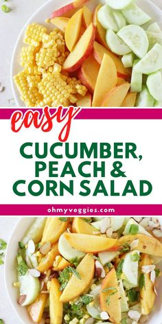 A simple and fresh summer salad filled with cucumber, peaches and fresh corn and finished with a honey and apple cider vinegar dressing. Vegetarian Comfort Food, Vegetarian Cooking, Comfort Foods, Vinegar Dressing, Corn Salads, Food Crafts, Summer Salads, Cider Vinegar, Peaches