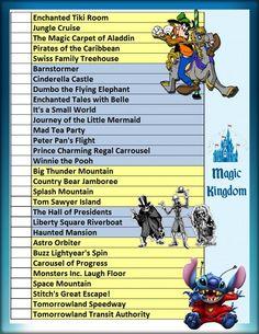 Magic Kingdom Check List Becky@pixieandpiratedestinations.com Dream  Vacation Planner