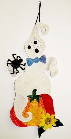 """Do you know how to scare a ghost? Now you do! This is a fast, fun and easy no-sew pattern. Top of head and arms are bendable! Finished Size: 11"""" x 24"""" Skill Level: Just Learning Halloween Patterns, Halloween Projects, Fall Halloween, Christmas Quilt Patterns, Table Runners, Sewing Patterns, Arts And Crafts, Quilts, Christmas Ornaments"""