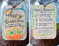Homemade card & instructions for DIY terrarium gift  @chickypea.com
