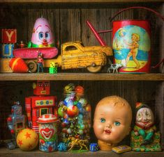 Childhood Toys On Old Shelf Childhood Toys, Old Toys, Fine Art Photography, Christmas Ornaments, Holiday Decor, Projects, Inspiration, Home Decor, Google