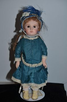 Antique Doll French Bisque Incised Jumeau Closed Mouth Cabinet Size & Stamped Body