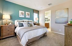 Master bedroom with blue accent