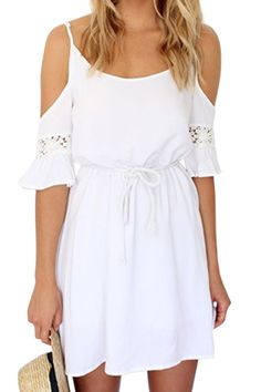 White Off-The-Shoulder Half Sleeve Dress WHITE: Dresses 2015 | ZAFUL
