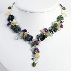 Sterling Silver Agate/Amethyst/Blue Topaz/Moonstone/Jade Necklace