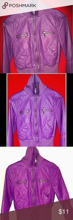 Purple faux leather jacket SO CUTE❤ Lovely purple, great condition, fully lined. It's a small medium I'd say it would be size 6 Delia's Jackets & Coats