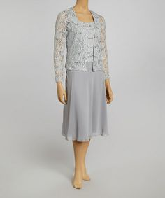 Another great find on #zulily! Silver Lace Sleeveless Dress & Jacket - Petite by Jessica Howard #zulilyfinds This would be a great Grandmother of the Groom/Bride dress!