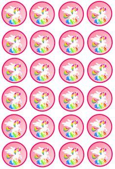 . Rainbow Unicorn Party, Unicorn Birthday Parties, Diy And Crafts, Arts And Crafts, Paper Crafts, Diy Bottle Cap Crafts, Unicorn Printables, Unicorn Pictures, Little Pony Party