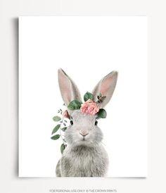 Rabbit with crown print, Baby animal prints by The Crown Prints, Boho nursery art, Baby girl room, N Boho Nursery, Nursery Wall Art, Girl Nursery, Girl Room, Nursery Decor, Bunny Painting, Rabbit Art, Bunny Rabbit, Bunny Art