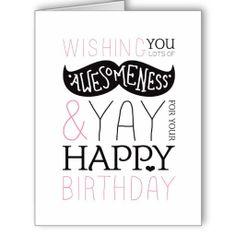 Happy birthday moustache fun typography card