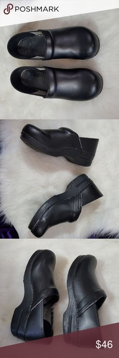 41 black dansko Size 41 black danskos good used condition with some cosmetic whereas photograph including light wear of material of the rim way or foot goes some dents in the back and one scuff on the toe still look really great though. Dansko Shoes Mules & Clogs