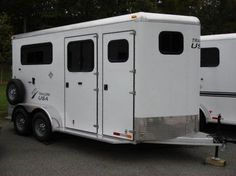 Check out this amazing 6ft 8in X 18ft Aluminum 2 Horse Warmblood Straight Load Dressing Room Trailer! Horse Trailers for sale in Macon, Georgia USA!