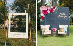"DIY Photo Backdrops: All wedding events have one thing in common: lots of pictures. Make a cute DIY photo backdrop to remember the event. Either in a adorable oversized Polaroid ""frame"" (above, left) or with paper flowers and a chalkboard painted sheet of plywood, these props will add so much flair to your engagement party decorations."