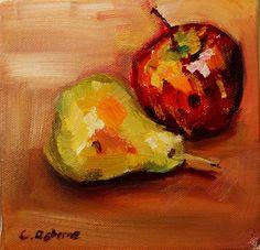 Manzana y pera Original pintura al óleo Bodegón por TheCaitGallery