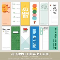 This set of summer themed digital journaling cards is perfect for pocket page protectors, scrapbooking and mini-books. Included in this set are ind. Summer Journal, Remember Day, Project Life Scrapbook, Kawaii Crafts, Mini Albums Scrap, Digital Scrapbooking, Scrapbooking Ideas, Scrapbook Layouts, Digital Journal