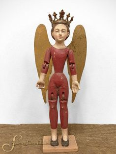 Mini Santos Angel Mannequin, Articulated with Wings - Red - Eleanor Brown Boutique