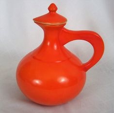 Vintage Ceramic Pitcher w Cover Orange MCM Atomic Pottery