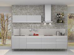 Cozinha personalizável estilo moderno. Sugestão composta por 6 módulos, incluindo painéis e prateleiras. Portas e frentes laqueadas que deixam a sua cozinha moderna e elegante. Ref. 8053