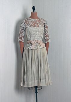 1950's Vintage Harvey Berlin Designer-Couture Creme Chantilly-Lace and Taupe Silk-Chiffon Hourglass Sheer-Illusion Strapless Cocktail Dress