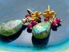 Genuine Chrysoprase earrings,Green Chrysoprase dangle earring,Boho earrings, Fuchsia corundum drops,Dangle post,Handmade by Matana Gift idea