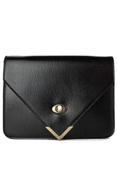 Black Twisted Metal Pointed Tweed Envelope Clutch Bag #Chicwish