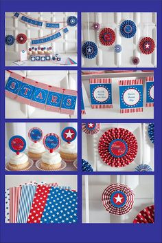 Free patriotic flair printables.  Also a great site for making your own wall art/sayings out of vinyl with the cricut!!  www.itswrittenonthewalls.blogspot.com
