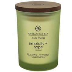 Chesapeake Bay Candle Mind Body Collection Medium Jar Scented Candle,... ($8.99) ❤ liked on Polyvore featuring home, home decor, candles & candleholders, scented candles, fragrance candles and chesapeake bay candle