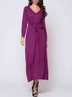 Bowknot V Neck Blended Plain Split Maxi Dress Only $21.99- fashionmeshop.com - fashionmeshop.com
