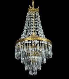 Antique Crystal Chandelier Empire Vintage French Brass Wedding Cake | eBay