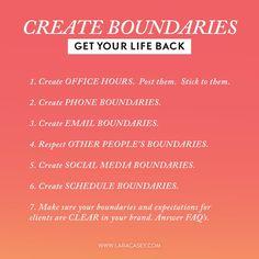 Create Boundaries --- Get Your Life Back