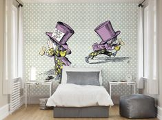 ohpopsi Alice In Wonderland Mad Hatter Wall Mural available to buy. Only including FREE delivery to the UK. Bedroom Wallpaper Murals, Wall Wallpaper, Wall Murals, Alice In Wonderland Characters, Photo Wallpaper, Interior Inspiration, Mad, Interior Decorating, Bedroom Decor