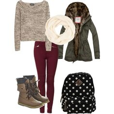 winter outfit. love the chunky knit scarf for those chilly morning on the way to school! In love with that jacket