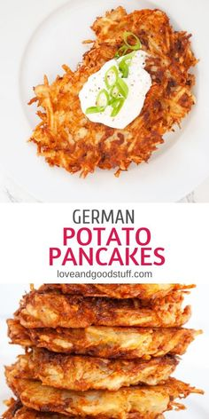 German potato pancakes, or Kartoffelpuffer, are crispy shredded potato pancakes similar to hashbrowns, but bound with egg. Serve up this classic German street food with sour cream or applesauce for a cozy snack or side dish. Potato Sides, Potato Side Dishes, Vegetable Side Dishes, Seafood Recipes, Appetizer Recipes, Vegetarian Recipes, Vegetarian Appetizers, German Potato Pancakes, Dressings