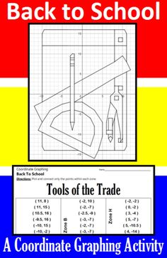 Make going Back to School fun with this coordinate graphing activity.  Students are given a list of coordinate points to connect.  They should connect the points only within the designated zones. When they are done, they will have a picture of a ruler, protractor, compass, pencil and sheet of paper: the Tools of the Trade.