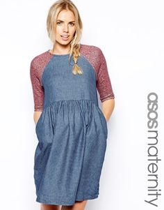 ASOS Maternity Skater Dress With Jersey Marl Sleeves