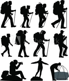 Collection of silhouettes of mans and womans in hike Graffiti Painting, Silhouettes, Hiking, Stock Photos, Adobe, People, Collection, Tattoos, Book