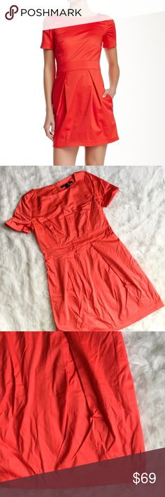 """French Connection Richie Fit & Flare Red Dress Lovely bright red dress from French Connection. Fit and Flare style! Super flattering. Exposed back zipper in gold. Size 8. Brand New with tags. Runs a bit small, as most FC does, I would say it fits a 4-6 best. Was stored in a drawer so it got a bit wrinkly, probably needs to be steamed. Hanging will prevent this. - Boatneck - Short sleeves - Back zip closure - 2 side on seam pockets - Pleated skirt - Approx. 33"""" length French Connection…"""