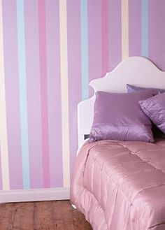 Striped feature wall - ideas for Violet's room