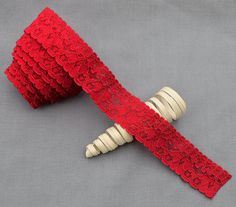 5 Yards Red Elastic Lace 1 Stretch Lace by yourperfectgifts, $3.80