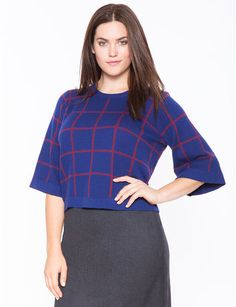 <SS:  bought this sweater, but have to wear something under to make it a bit longer!>  Flared Sleeve Windowpane Sweater from eloquii.com