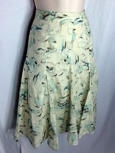Cato Skirt size 18 Creme Teal Brown Floral Summer Cotton Lined Boho Dressy #Cato #ALinePleated