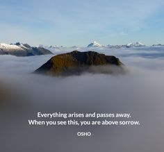 Everything arises and passes away. When you see this, you are above sorrow. OSHO #everything #arises #passes #away #when #see #this #above #sorrow #osho #quote Meaningful Quotes, Inspirational Quotes, Ikeda Quotes, French Quotes, Spanish Quotes, Mr Wonderful, Love Truths, Education Humor, Life Rules