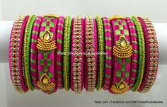 Price For orders, whatsapp to We ship All over the world Silk Thread Bangles Design, Silk Bangles, Bridal Bangles, Thread Jewellery, Beaded Necklace Patterns, Jewelry Patterns, Terracotta Jewellery Designs, Yarn Flowers, Bangles Making