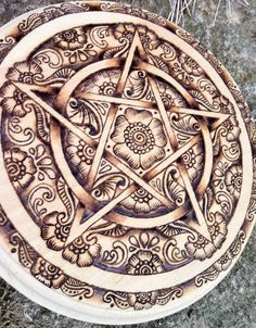 Lakshmi Pentacle OOAK 7 wooden handburned by GreenwoodCreations13, $100.00