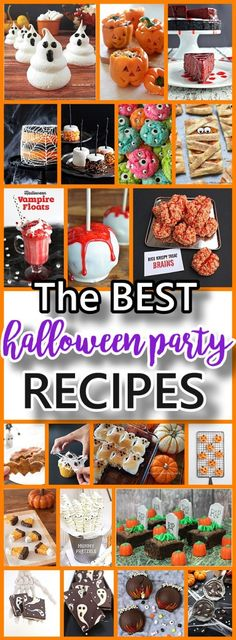 The BEST Halloween Party Recipes {Spooktacular Desserts Drinks Treats Appetizers and More!} THE BEST Halloween Party Treats Appetizers and Desserts Recipes Source by funlovingfamilies Halloween Desserts, Recetas Halloween, Halloween Party Treats, Adornos Halloween, Halloween Birthday, Holidays Halloween, Holiday Treats, Halloween Kids, Halloween
