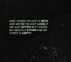 Mess, Lonely, Bitter, Storm, Empty.... N a few more words describe my thoughts perfectly :)