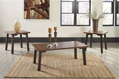 Complete your rustic seating area with the Signature Design by Ashley Latoon 3 Piece Coffee Table Set . This set includes two end tables and a coffee. Contemporary Coffee Table Sets, 3 Piece Coffee Table Set, Coffee Tables, Living Room Accents, Exposed Wood, Table Legs, Cool Furniture, End Tables, Table Settings